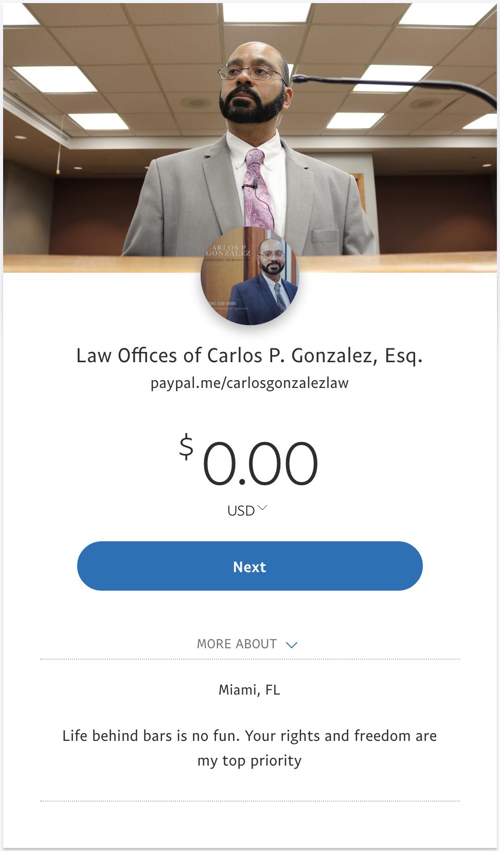 Make a payment PayPal Carlos Gonzalez Law